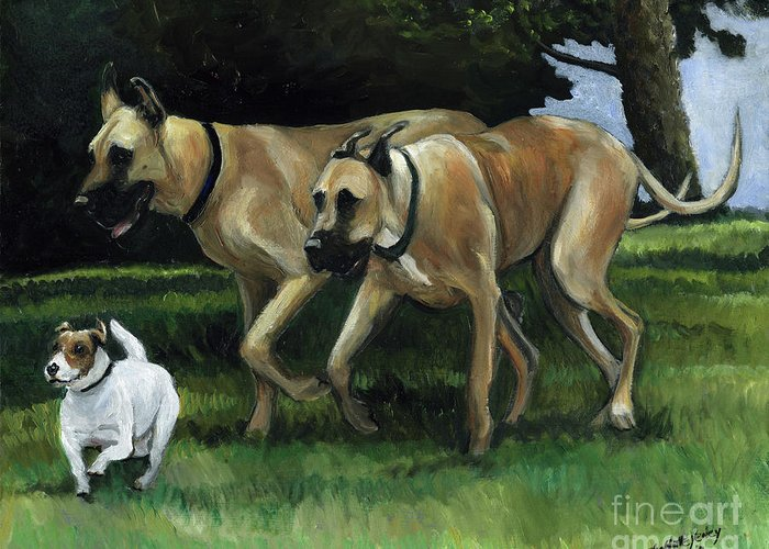 Dog Greeting Card featuring the painting Running With The Big Boys by Charlotte Yealey