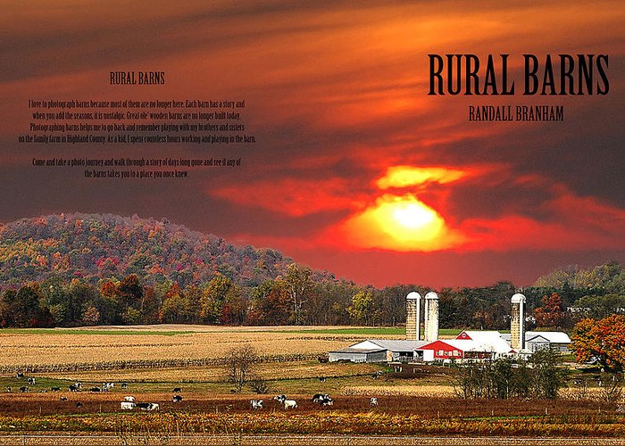 Rural Barns Greeting Card featuring the photograph Rural Barns My Book Cover by Randall Branham