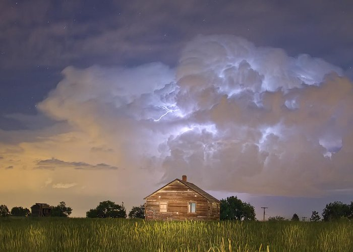 Sky Greeting Card featuring the photograph Rural Country Cabin Lightning Storm by James BO Insogna
