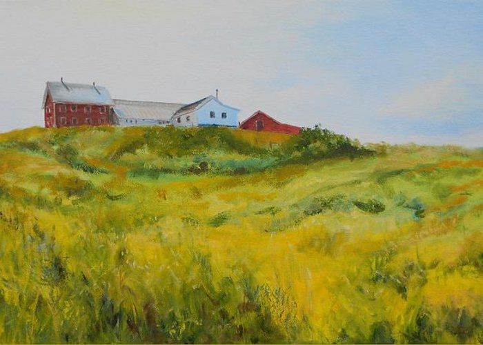 Red Barn Greeting Card featuring the painting Rural Haze by Susan Hanna