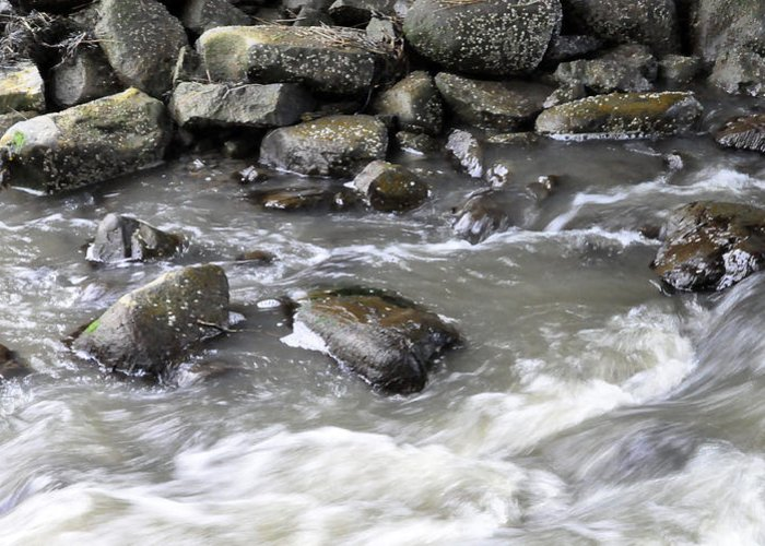 Water Greeting Card featuring the digital art Rushing Water by Jim Brage