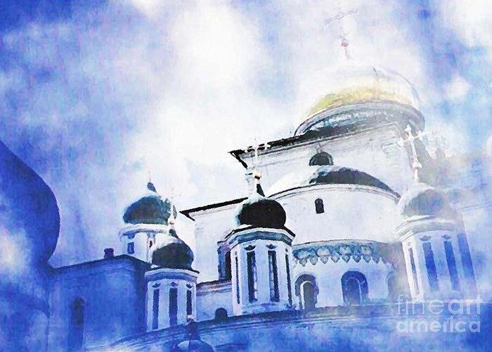 Church Greeting Card featuring the photograph Russian Church In A Blue Cloud by Sarah Loft