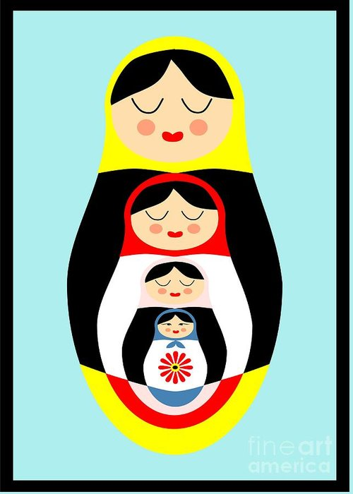 Matryoshka Greeting Card featuring the drawing Russian Doll Matryoshka by Patruschka Hetterschij
