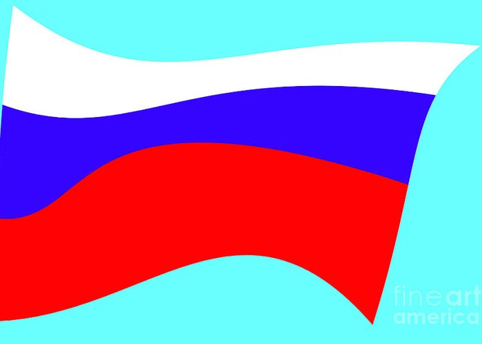 Russian Flag Greeting Card featuring the tapestry - textile Russian Flag by Lali Kacharava