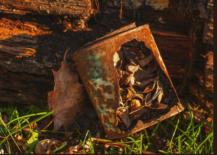 Landscape Greeting Card featuring the painting Rusted Can Of Leaves by Jack Zulli