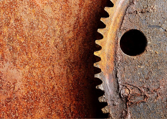 Metal Greeting Card featuring the photograph Rusted Gear by Jim Hughes