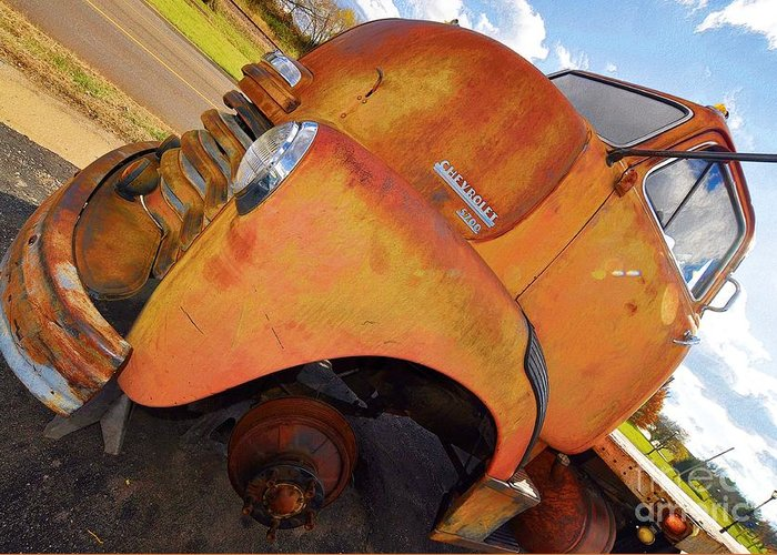 Aged Greeting Card featuring the photograph Rusted Out Chevrolet 5700 by Liane Wright