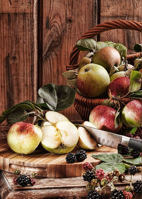 Rustic Greeting Card featuring the photograph Rustic Apples by Amanda Elwell
