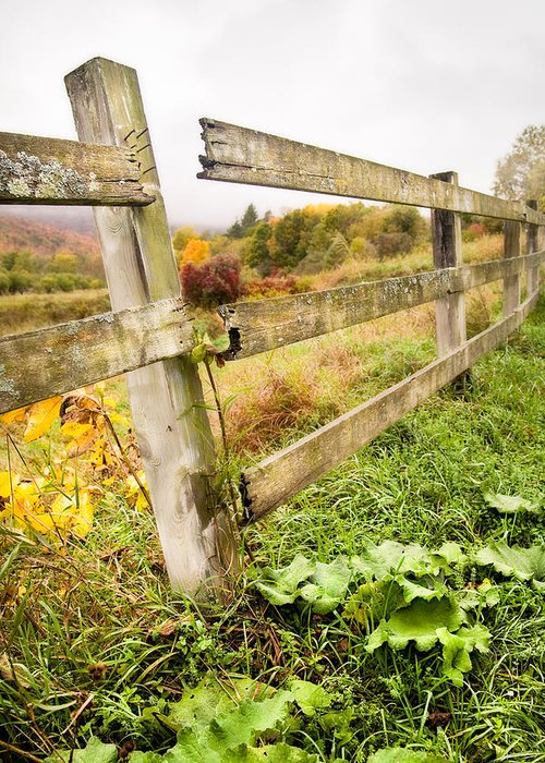 Autumn Landscape Greeting Card featuring the photograph Rustic Landscapes - Broken Fence by Gary Heller