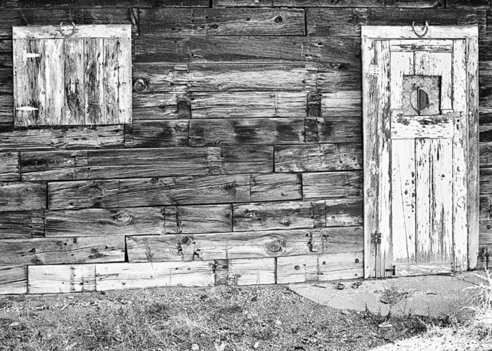 Rustic Greeting Card featuring the photograph Rustic Old Colorado Barn Door And Window Bw by James BO Insogna