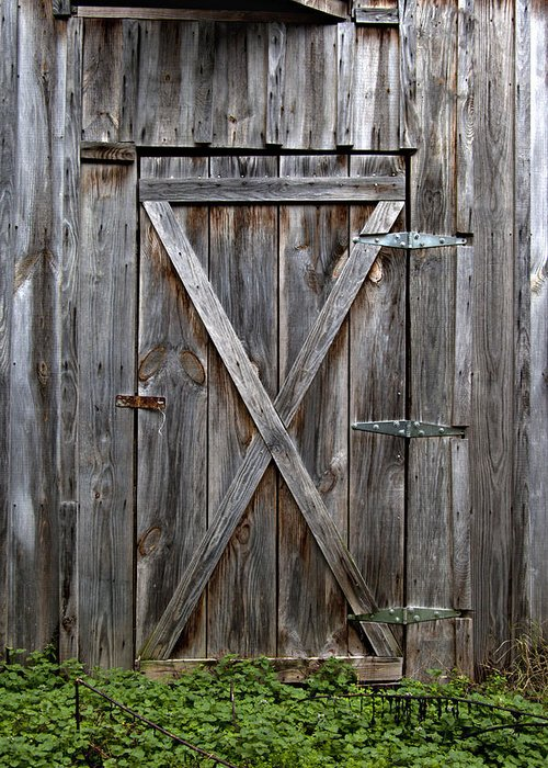 Incroyable Antique Greeting Card Featuring The Photograph Rustic Old Wooden Barn Door  By Heather Reeder