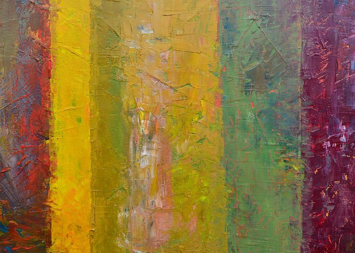 Abstract Greeting Card featuring the painting Rustic Stripes With Yellow by Michelle Calkins