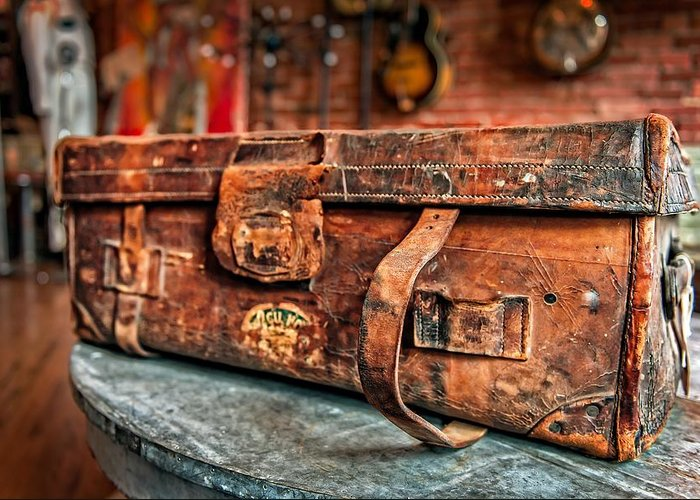Leather Greeting Card featuring the photograph Rustic Trunk by Brett Engle