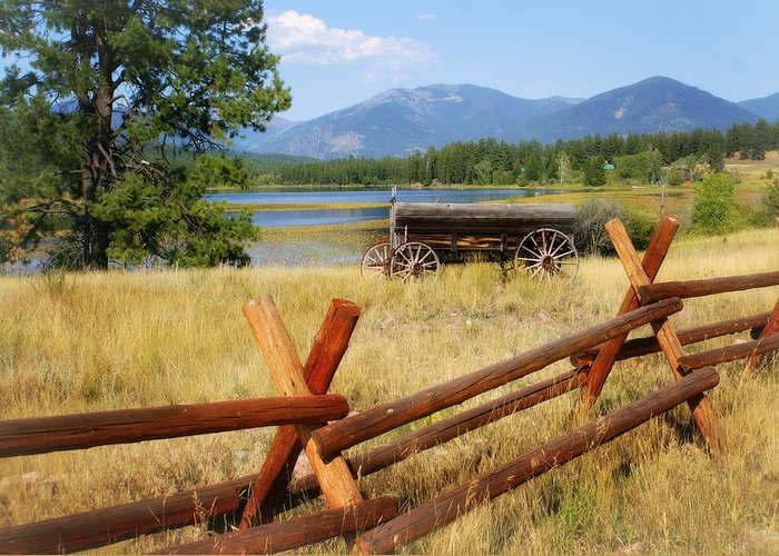 Landscape Greeting Card featuring the photograph Rustic Wagon by Marty Koch