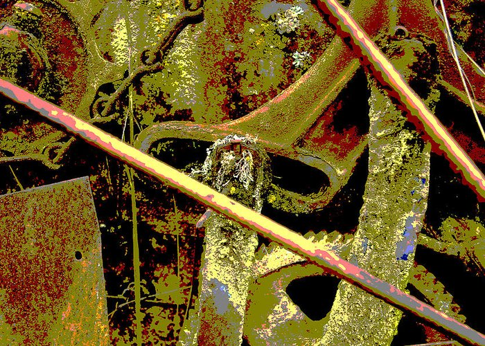 Abstract; Fall; Old Farm Equipment; Overgrown; Rust Greeting Card featuring the photograph Rusting Farm Equipment 2 by John Higby