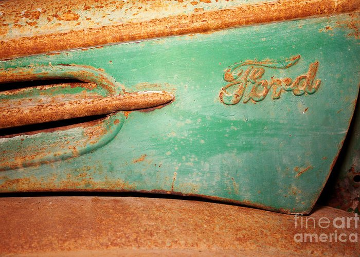Ford Greeting Card featuring the photograph Rusting Ford by James Brunker