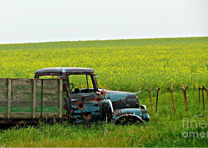 An Old International Truck Rusting In A Field In Saskatchewan. Greeting Card featuring the photograph Rusty International Truck by Amber Gordon