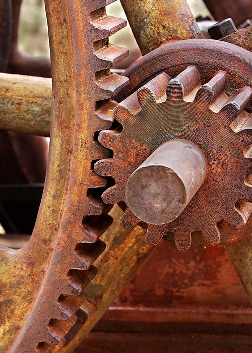 Gears Greeting Card featuring the photograph Rusty Metal Gears by Phyllis Denton