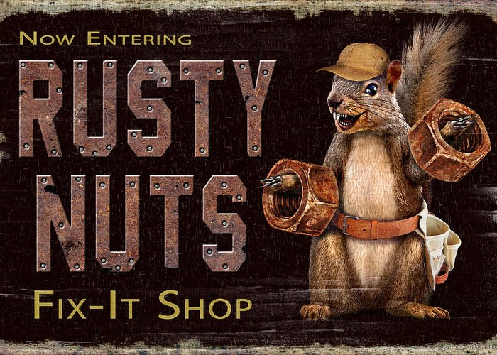 Jeff Wack Greeting Card featuring the painting Rusty Nuts by JQ Licensing