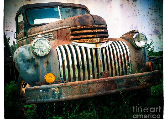 Car Greeting Card featuring the photograph Rusty Old Chevy Pickup by Edward Fielding