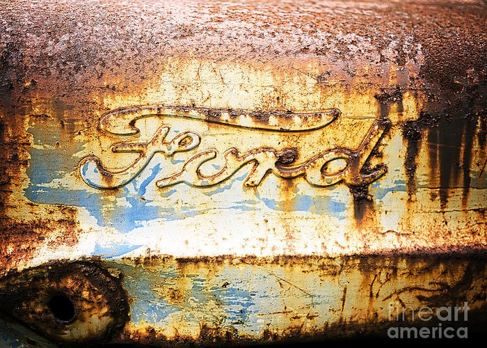 Ford Greeting Card featuring the photograph Rusty Old Ford Closeup by Edward Fielding