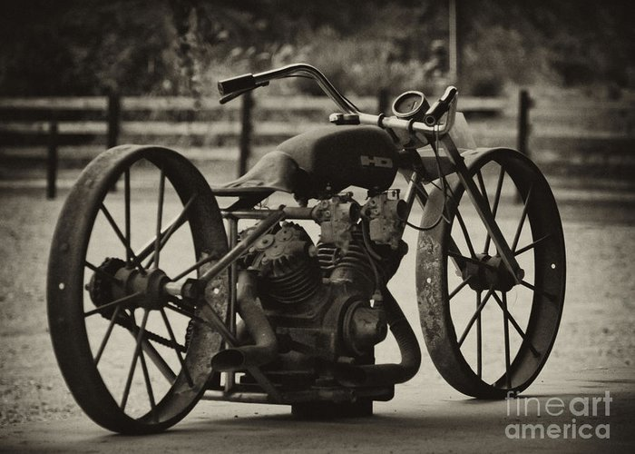 Vintage Motorcycle Greeting Card featuring the photograph Rusty Rims by Wilma Birdwell