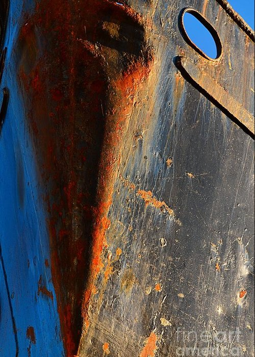 Abstract Greeting Card featuring the photograph Rusty Vee by Lauren Leigh Hunter Fine Art Photography