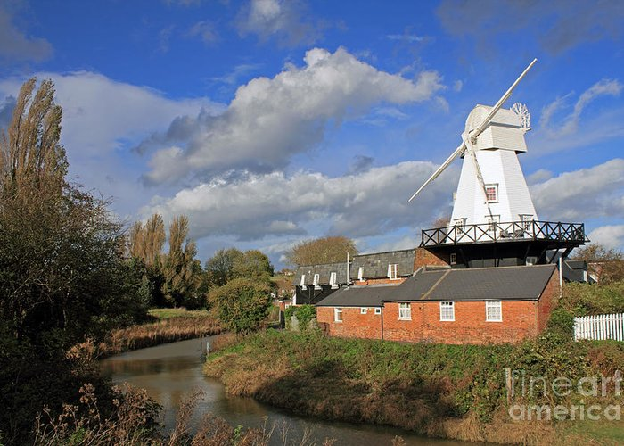 Rye Windmill Uk Sussex River British English Countryside Landscape Greeting Card featuring the photograph Rye Windmill by Julia Gavin