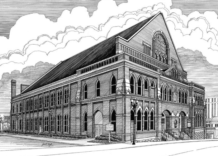 Architecture Greeting Card featuring the drawing Ryman Auditorium In Nashville Tn by Janet King