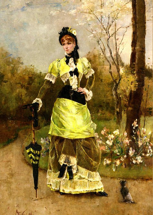 Alfred Stevens Greeting Card featuring the digital art Sa Majeste La Parisienne by Alfred Stevens