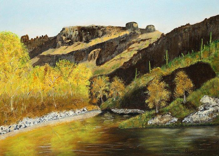 Sabino Canyon Greeting Card featuring the painting Sabino Autumn by Rich Civiok