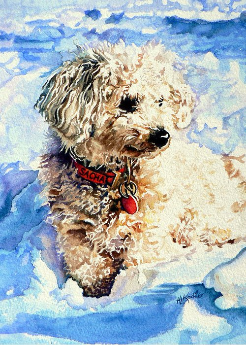 Dog Portrait Greeting Card featuring the painting Sacha by Hanne Lore Koehler