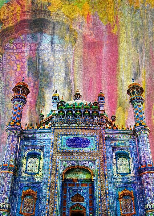 Pakistan Greeting Card featuring the painting Sachal Sarmast Tomb by Catf