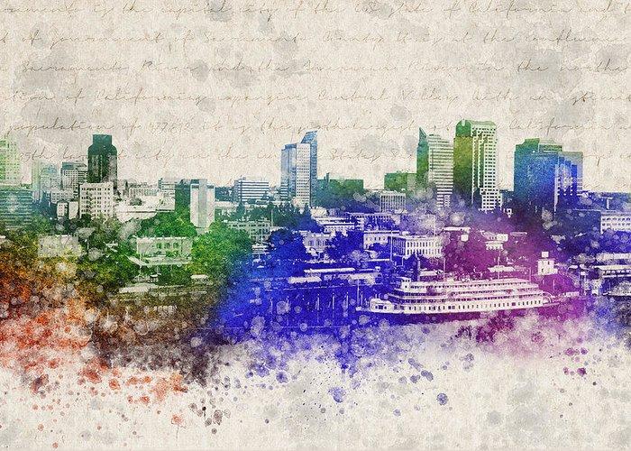 Sacramento Greeting Card featuring the digital art Sacramento City Skyline by Aged Pixel