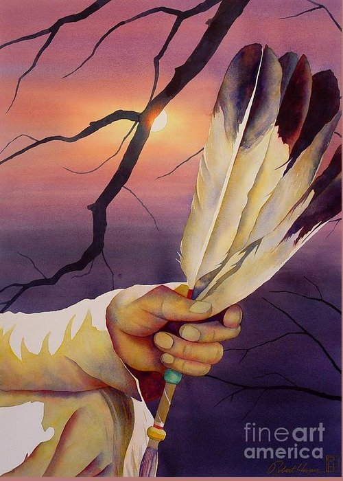 Watercolor Greeting Card featuring the painting Sacred Feathers by Robert Hooper