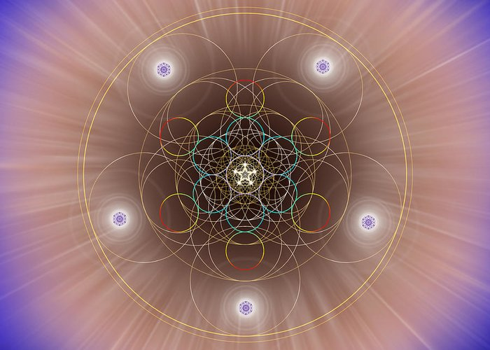 Endre Greeting Card featuring the digital art Sacred Geometry 260 by Endre Balogh
