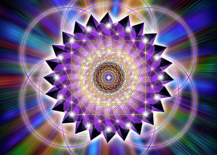 Endre Greeting Card featuring the digital art Sacred Geometry 74 by Endre Balogh