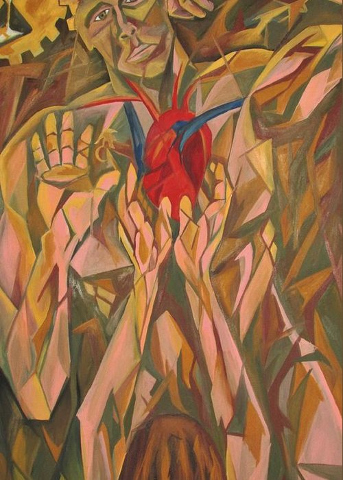 Cubist Greeting Card featuring the painting Sacred Heart And Thoughtful Mind by Carter Gillis