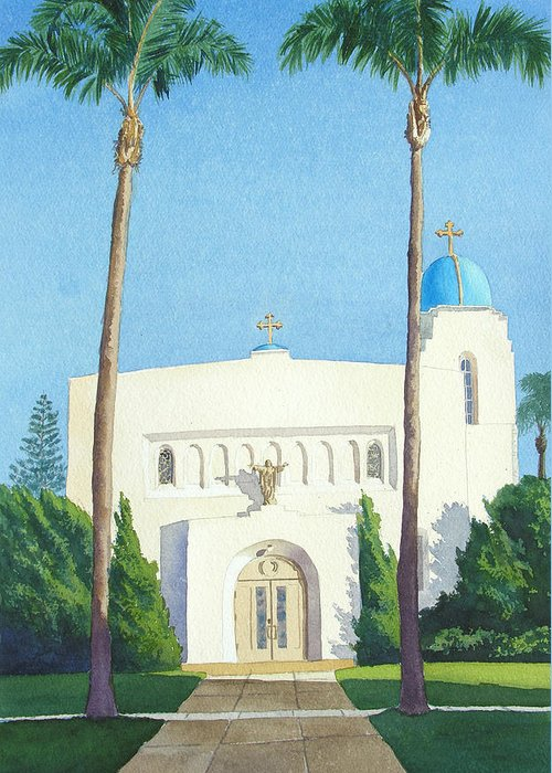 Sacred Heart Greeting Card featuring the painting Sacred Heart Church Coronado by Mary Helmreich