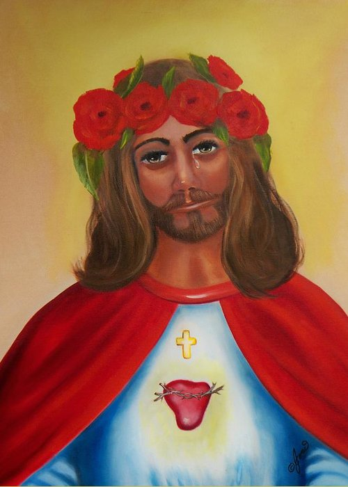 Christmas Greeting Card featuring the painting Sacred Heart- Crown Of Roses by Joni McPherson
