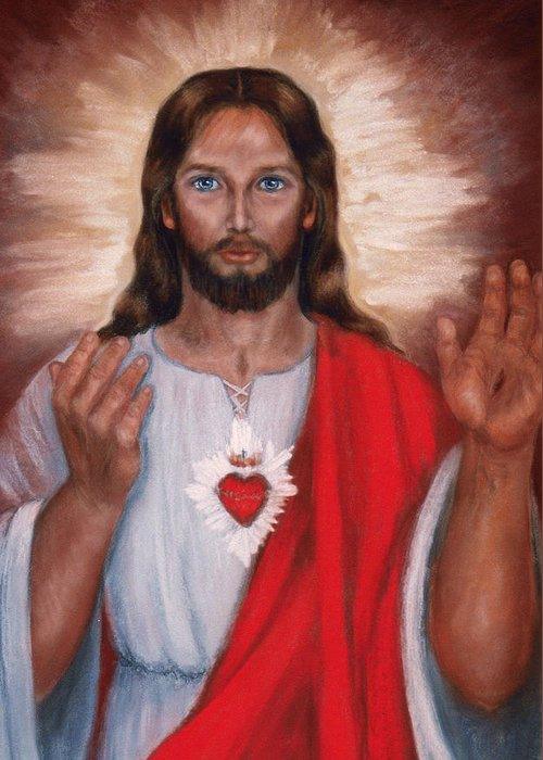 Jesus Greeting Card featuring the painting Sacred Heart Of Jesus by Terry Sita