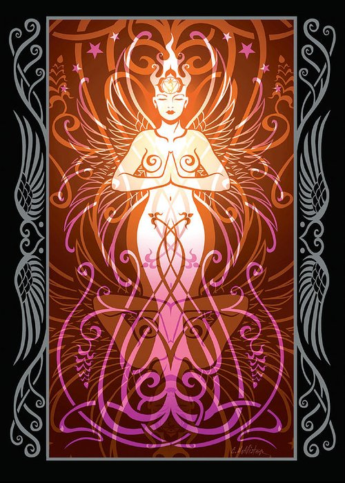 Goddess Greeting Card featuring the digital art Sacred State V.2 by Cristina McAllister