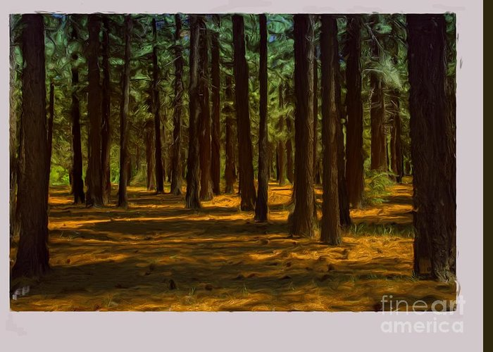 Big Bear Greeting Card featuring the painting Sacred Warrior Grove by Joel Leslie