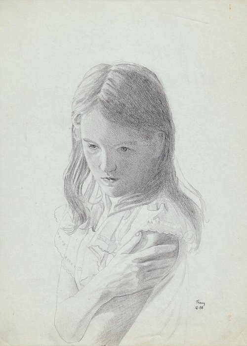 Sad Girl Greeting Card featuring the drawing Sad Girl by Robert Tracy