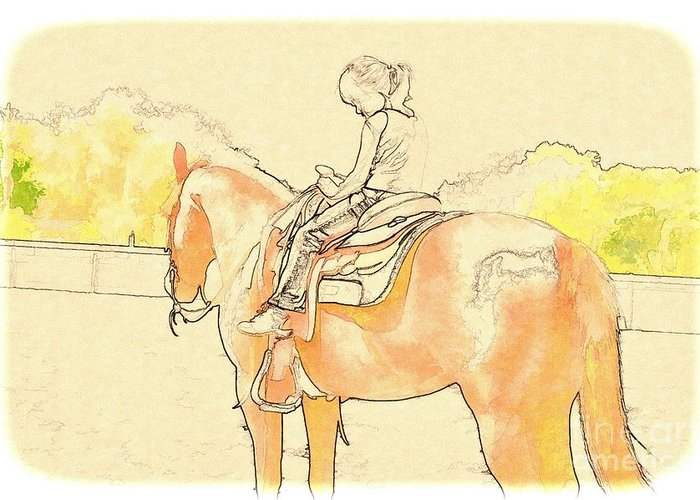 Horse Greeting Card featuring the photograph Saddle Break by Pamela Blizzard
