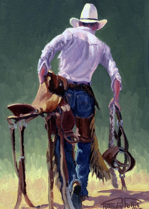 Cowboy Greeting Card featuring the painting Saddle Bronc Rider by Randy Follis