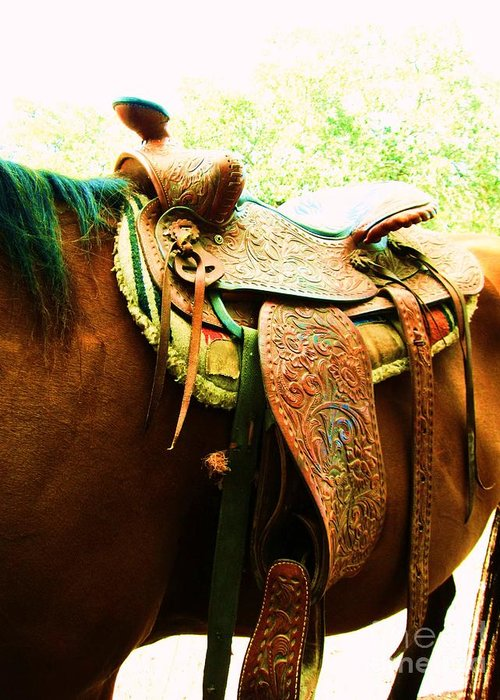 Saddle Greeting Card featuring the photograph Saddle by Esther Rowden