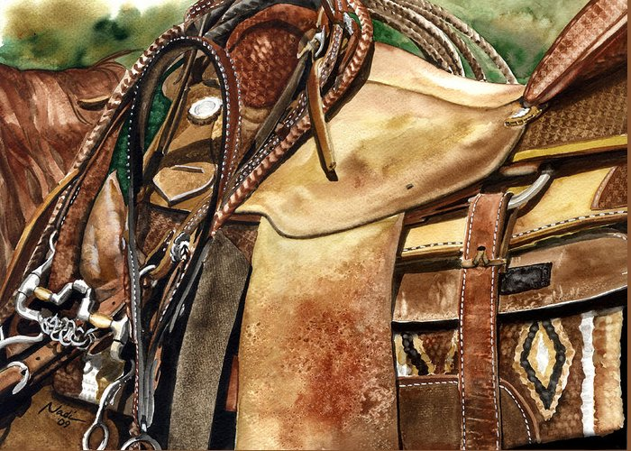 Cowboy Greeting Card featuring the painting Saddle Texture by Nadi Spencer