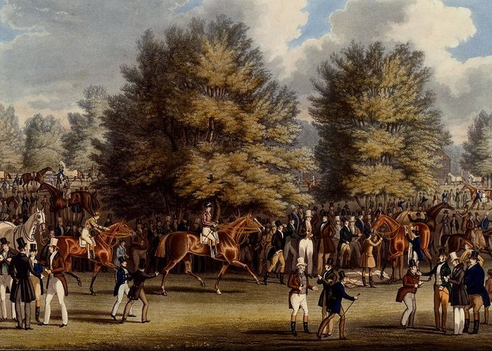 Epsom Greeting Card featuring the drawing Saddling In The Warren, Print Made by James Pollard