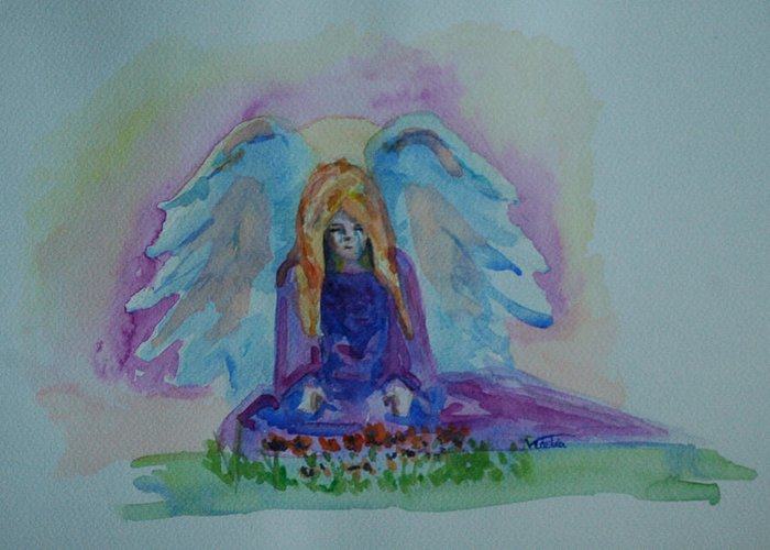 Angel Greeting Card featuring the painting Sadness by Venetia Bebi